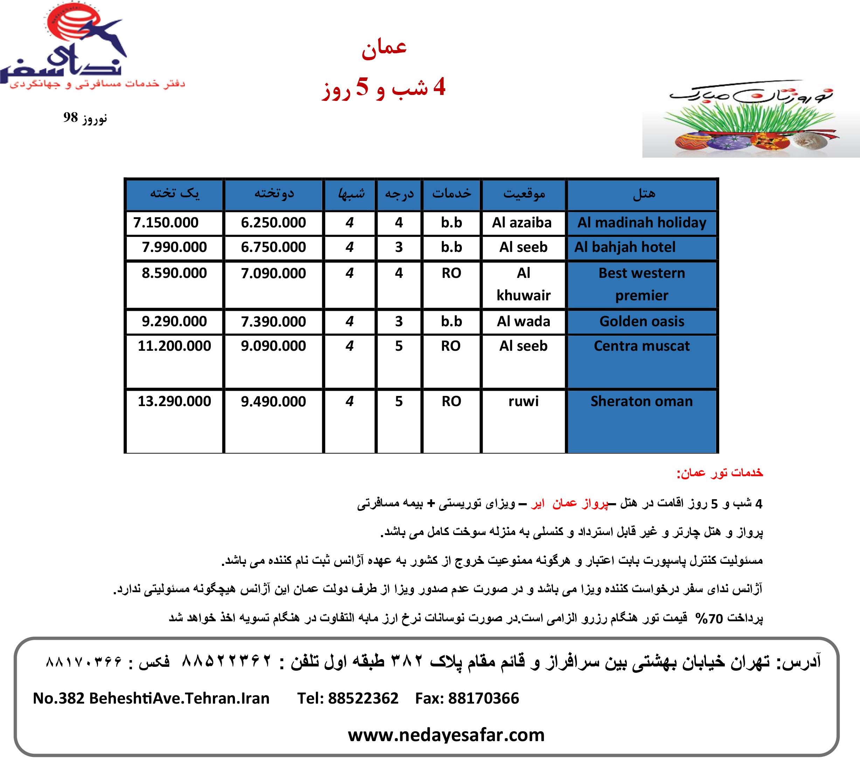 تور عمان نوروز 98